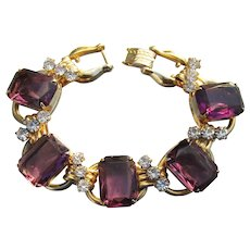JULIANA Chunky Square Amethyst Glass & Rhinestone Vintage Bracelet