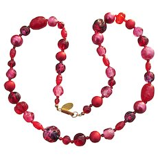 Signed Miriam HASKELL Red Molded Glass Bead & Faux Pearl Necklace