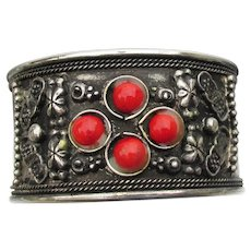 Vintage Tribal Faux Red Coral Silver Plated Wide Cuff Bracelet