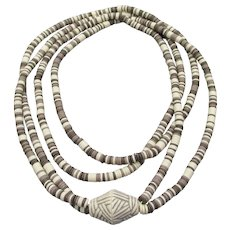 Long Two Strand Ceramic Heishi Bead Vintage Necklace