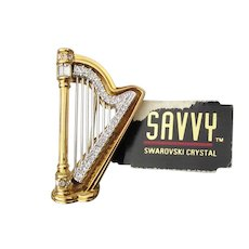 Swan Signed Vintage Savvy Swarovski Rhinestone HARP Pin, NEW With Tag!