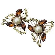 Judith McCann Wingback Vintage Topaz Rhinestone & Faux Pearl Earrings