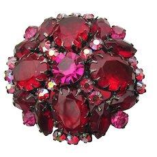 JULIANA D & E Vintage Japanned Deep Ruby RED Rhinestone Pin, Book Piece