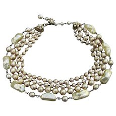 Signed Miriam HASKELL Incredible Vintage 4 Strand Faux Baroque Pearl Necklace