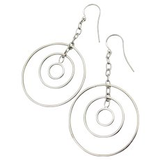 Large Vintage Sterling Silver Triple Hoop Chain Dangle Earrings