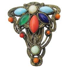 Art Nouveau Vintage Multi-Color Glass Cabochon Dress Clip