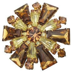 JULIANA D & E Vintage Topaz Keystone Rhinestone Pin, Book Piece