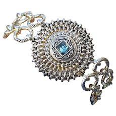 Stainless Steel Blue Topaz Rhinestone Medallion Double Row Chain Link Toggle Bracelet