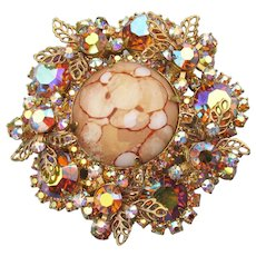 JULIANA Cream Cabochon Matrix AB Rhinestone Vintage Pin Pendant, Book Piece!
