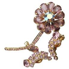 Pretty JULIANA Vintage Lavender Rhinestone Flower Pin & Earrings Set