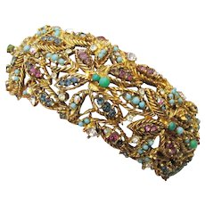 Wide Vintage Faux Turquoise & Rhinestone Hinged Clamper Cuff Bracelet