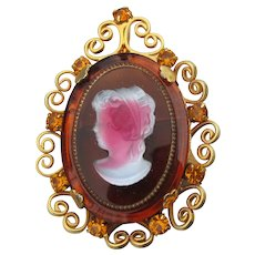 Signed CELEBRITY by D & E Juliana Vintage Cameo Pin Pendant, BOOK Piece