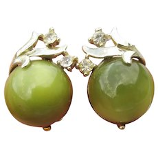 Signed CORO Vintage 1950's Lime Green Thermoset Lucite & Rhinestone Earrings