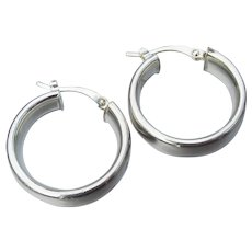 Flat & Thick Sterling Silver Vintage Pierced Hoop Earrings