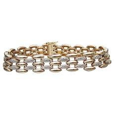 Ross Simons Vermeil & Textured Sterling Silver Vintage Link Bracelet