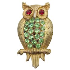 Cute Vintage Lime Green Rhinestone OWL Bird Pin