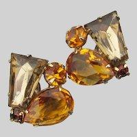 JULIANA Keystone & Pear Topaz Rhinestone Earrings, Book Piece