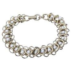 Signed GOLDETTE Caged Faux Pearls Vintage Bracelet