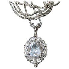 Signed Vintage White Topaz Sterling Silver Filigree Pendant Necklace