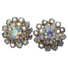 Early Signed WEISS Vintage 1950's Aurora Borealis Screw Back Earrings