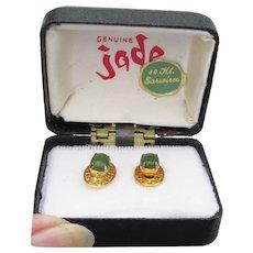Vintage 14k Gold & Jade Stud Filigree Earrings, New In Box