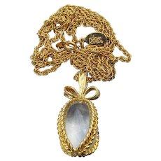Vintage 1990s JOAN RIVERS Crystal Egg Pendant Necklace, Book Piece