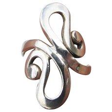 1980's Vintage Modern Sterling Silver Large Swirl Ring, Size 7