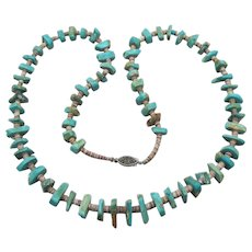 1960's Vintage Shark Tooth Turquoise Nugget & Heishi Bead Necklace