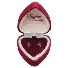 14K Gold Vintage CROSS Pierced Stud Earrings, Mint in Heart Box