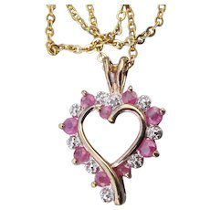 Gold Filled Sterling Silver Ruby & CZ Heart Pendant Vintage Necklace