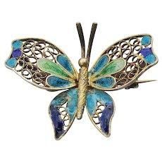 Gilt 800 Silver Vintage Plique a Jour Enamel Butterfly Pin