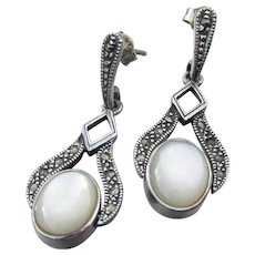 Art Deco Revival Sterling Silver Mother-of-Pearl & Onyx Reversible FLIP Vintage Dangle Earrings