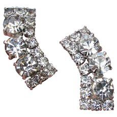 Vintage Unsigned WEISS Crystal Rhinestone Clip Climber Earrings