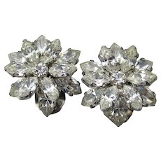 Layered Flowers Marquise Rhinestone Vintage 1950's Clip Earrings