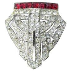 Vintage Art Deco Crystal & Ruby Red Rhinestone Dress Clip Brooch