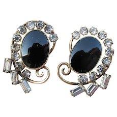 Vintage Signed Carl-Art 12k Gold Filled Faux Onyx Earrings