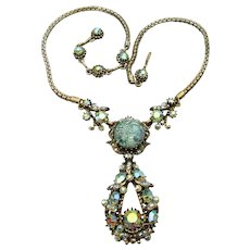 Signed Vintage HOLLYCRAFT Green Cat's Eye & AB Rhinestone Necklace, Dated 1958