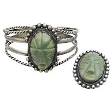 Vintage Mexico Fine Silver Carved Green Agate MASK Face Cuff Bracelet & Brooch Set
