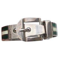 Italy Sterling Silver & Guilloche Enamel Vintage Buckle Bracelet