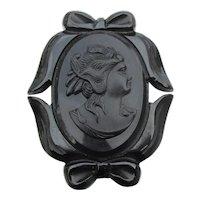 Large Black BAKELITE Cameo Vintage Mourning Pin