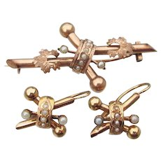 Antique Victorian 14k Rose Gold Seed Pearl Pin & Pierced Earrings Set