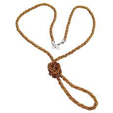 Signed Nolan Miller Twist Amber Glass Bead Long Vintage Necklace