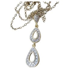 Vintage Sterling Silver Vermeil TearDrop Pendant Necklace