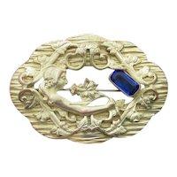Antique Art Nouveau Woman & Flower Gold Filled Rhinestone Pin