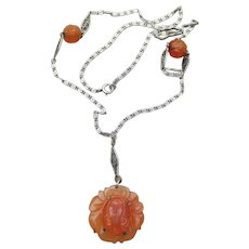 Chinese Export Carved Carnelian FACE Pendant Shou Bead Antique Sterling Necklace