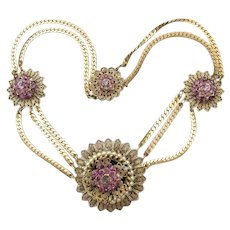 Vintage Retro Deco Purple Rhinestone Medallion & Faux Pearl Necklace