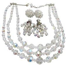 Vintage 1950's 3 Strand Aurora Borealis Crystal Necklace & Earrings Set, Excellent!