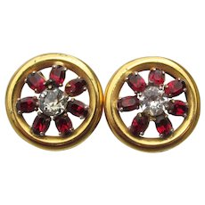 Sterling Silver Vermeil Vintage 1950's Ruby Rhinestone BUTTON Earrings