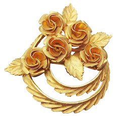 Early 1950's Vintage CORO 3-D Rose Flower Circle Pin