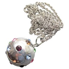 Long Vintage Mexican Sterling Silver Multi-Color Rhinestone Ball Necklace